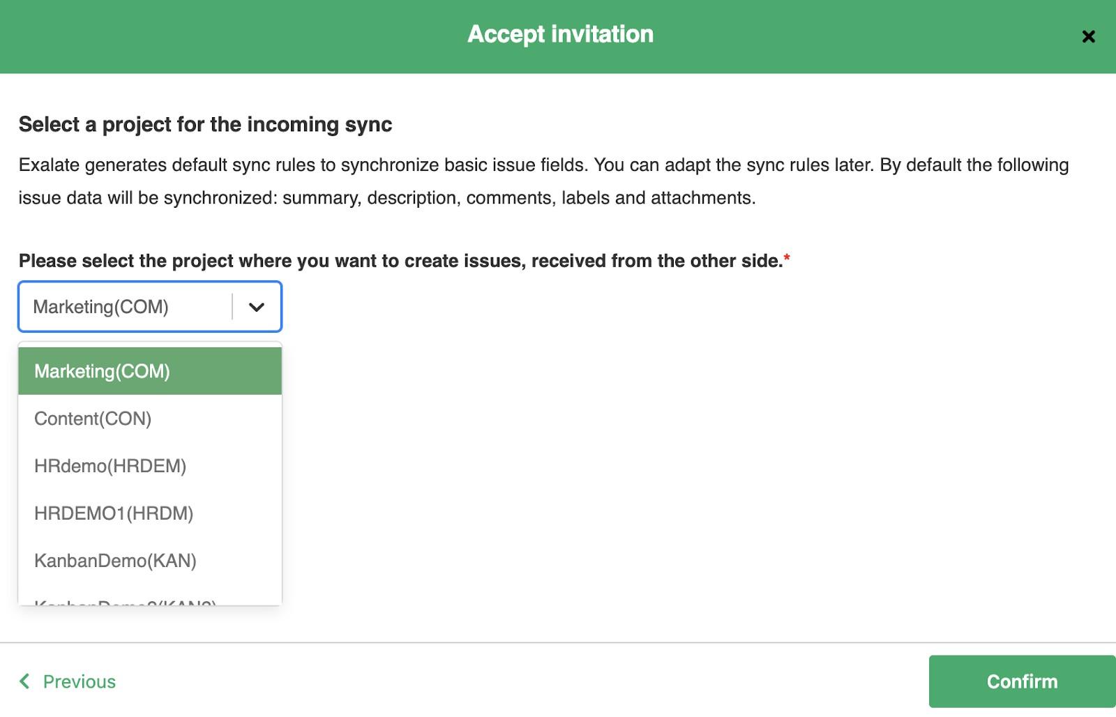 accept a jira sync invitation
