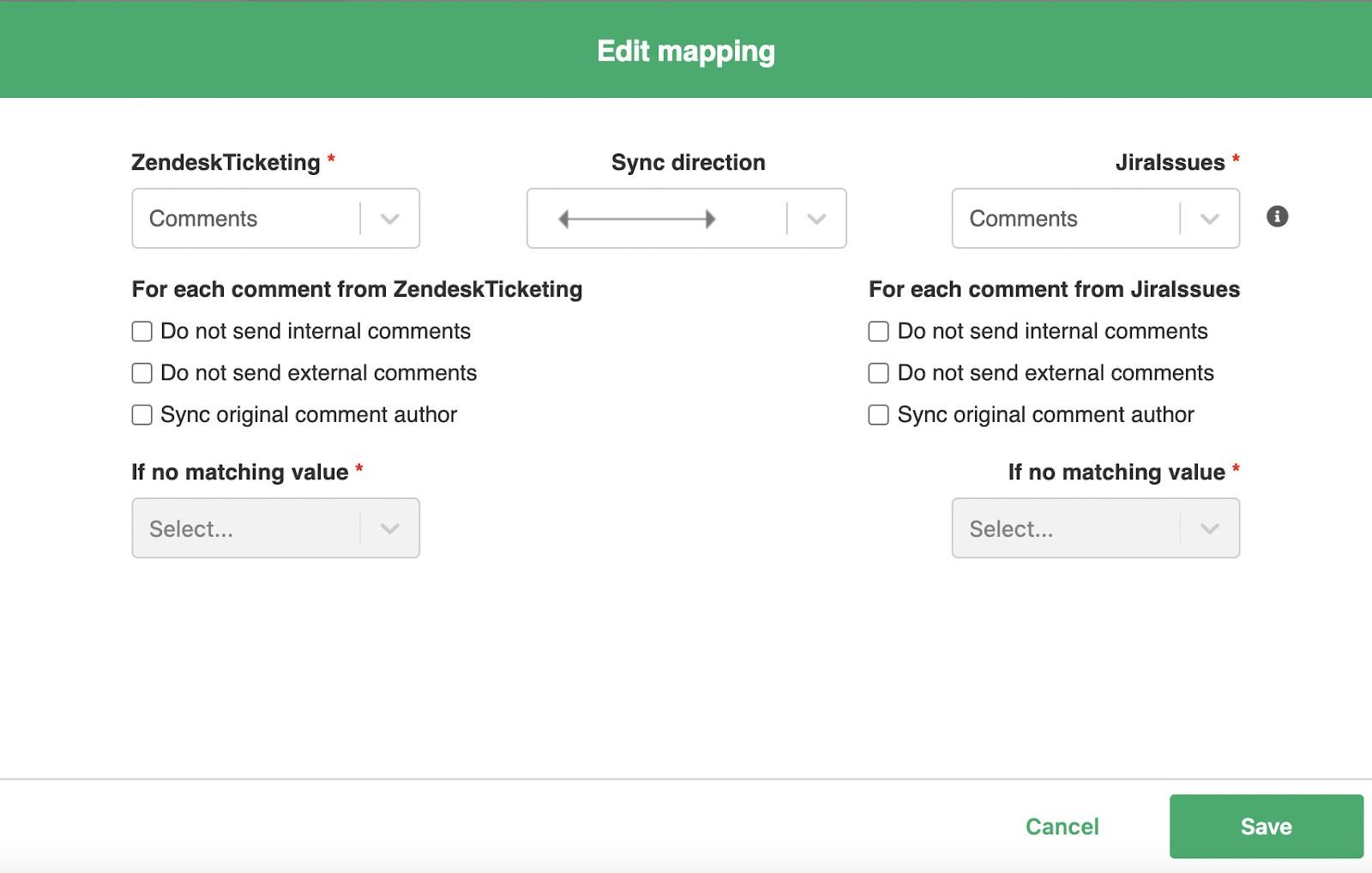 edit jira zendesk sync mapping
