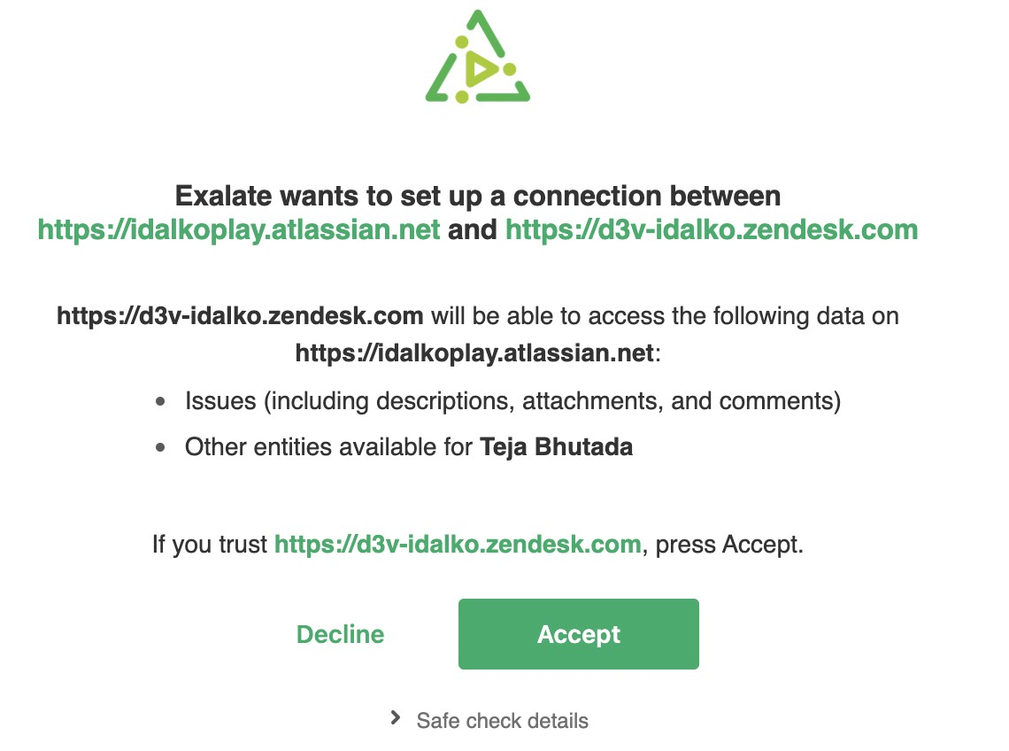 accept jira zendesk connection