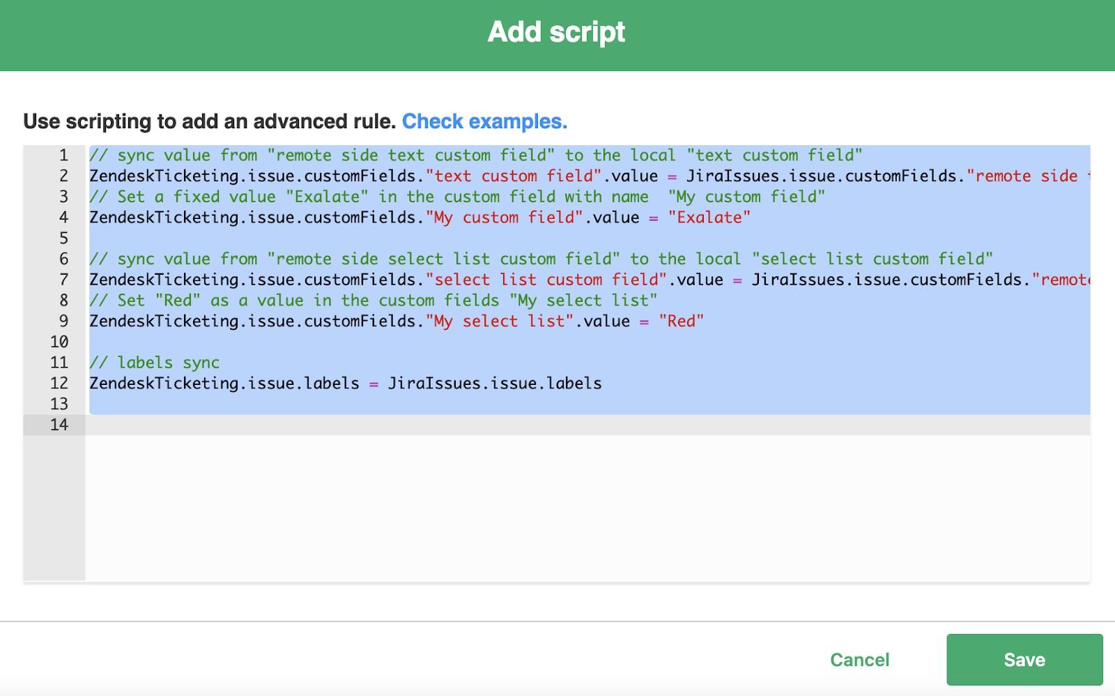add script to jira zendesk sync