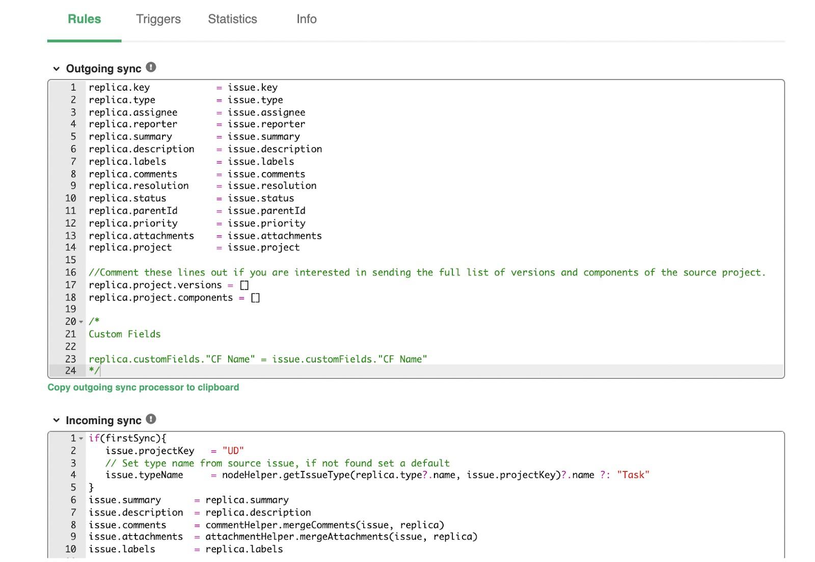 jira to GitHub sync rules