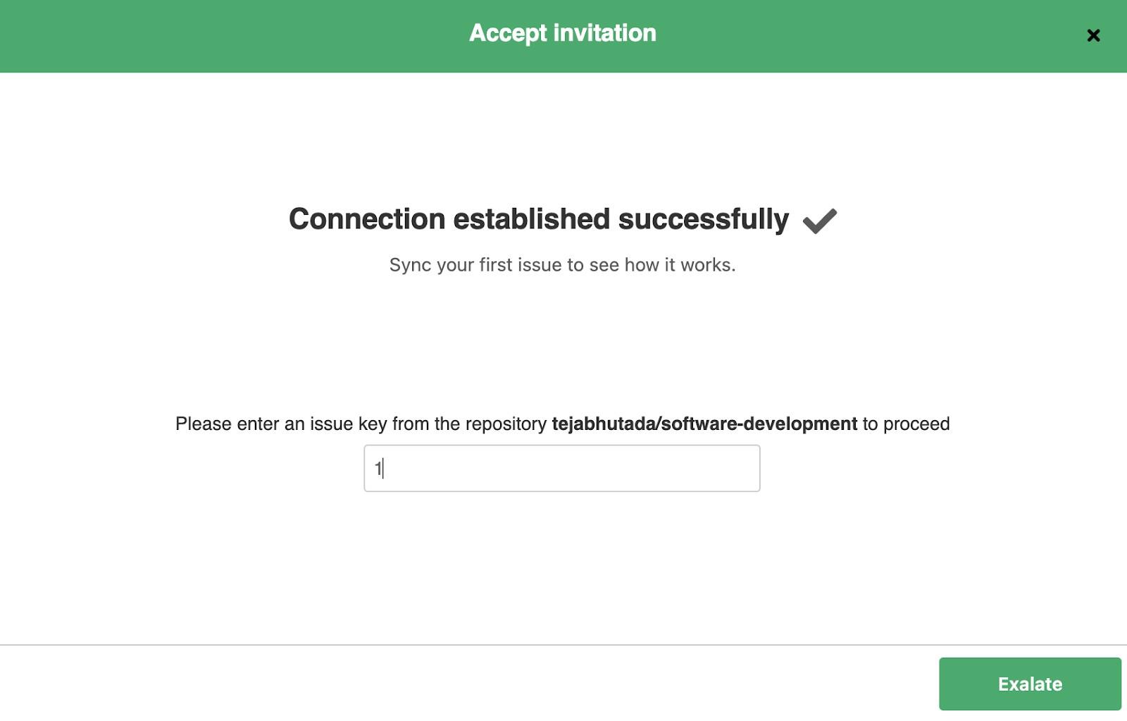 successful jira GitHub integration basic mode