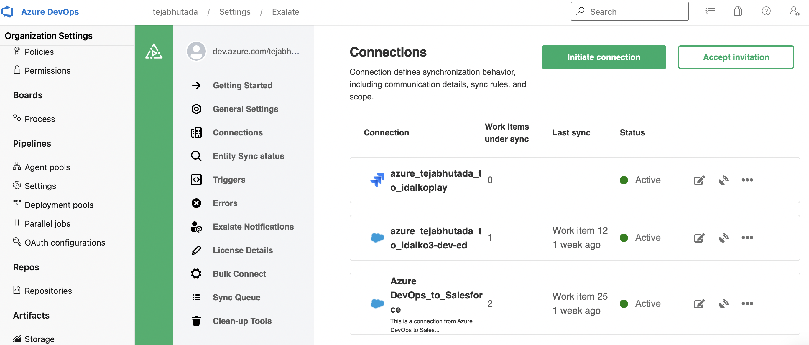 Integration connection between Azure DevOps and ServiceNow