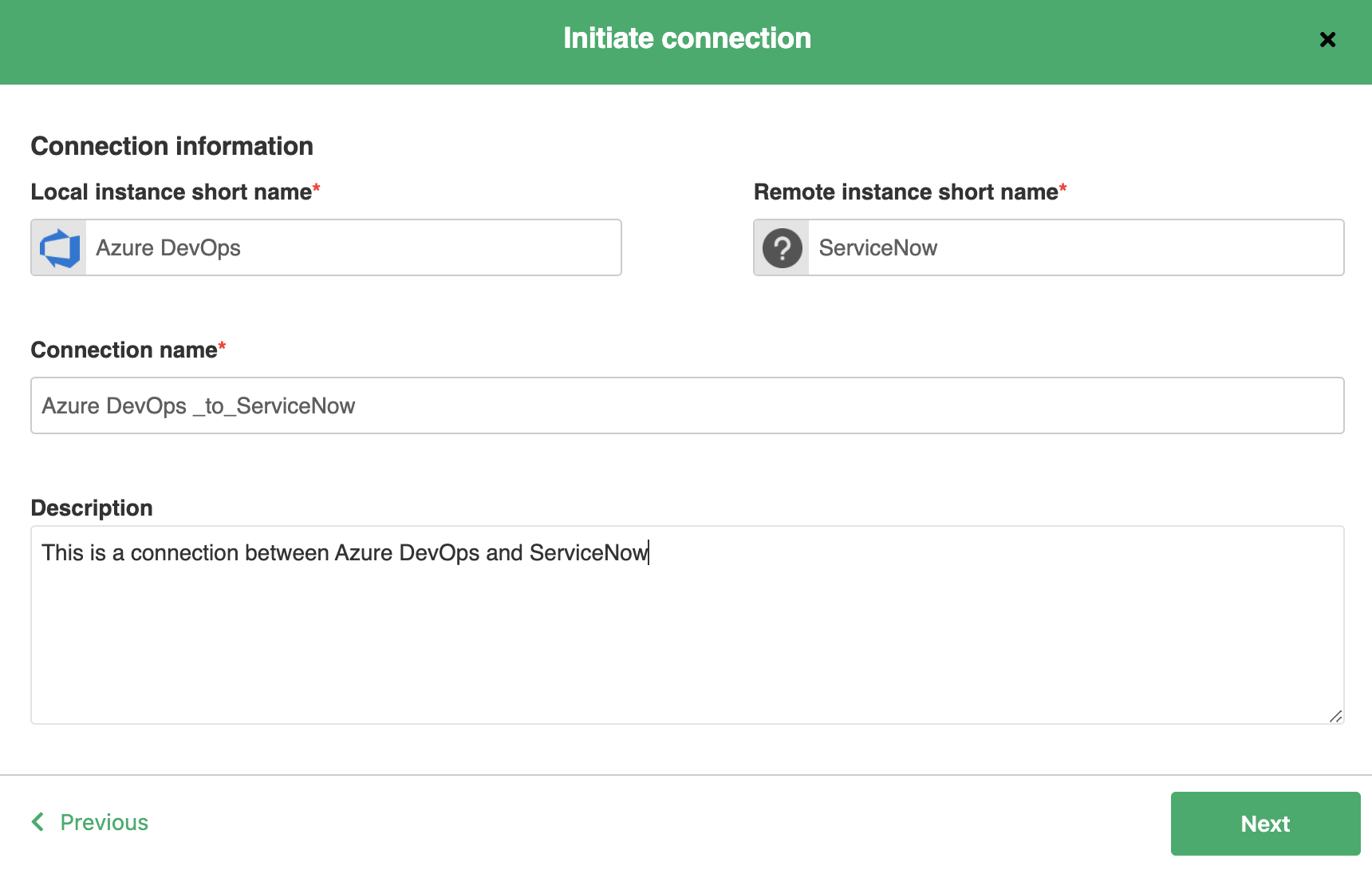 Connection name for Azure DevOps and ServiceNow