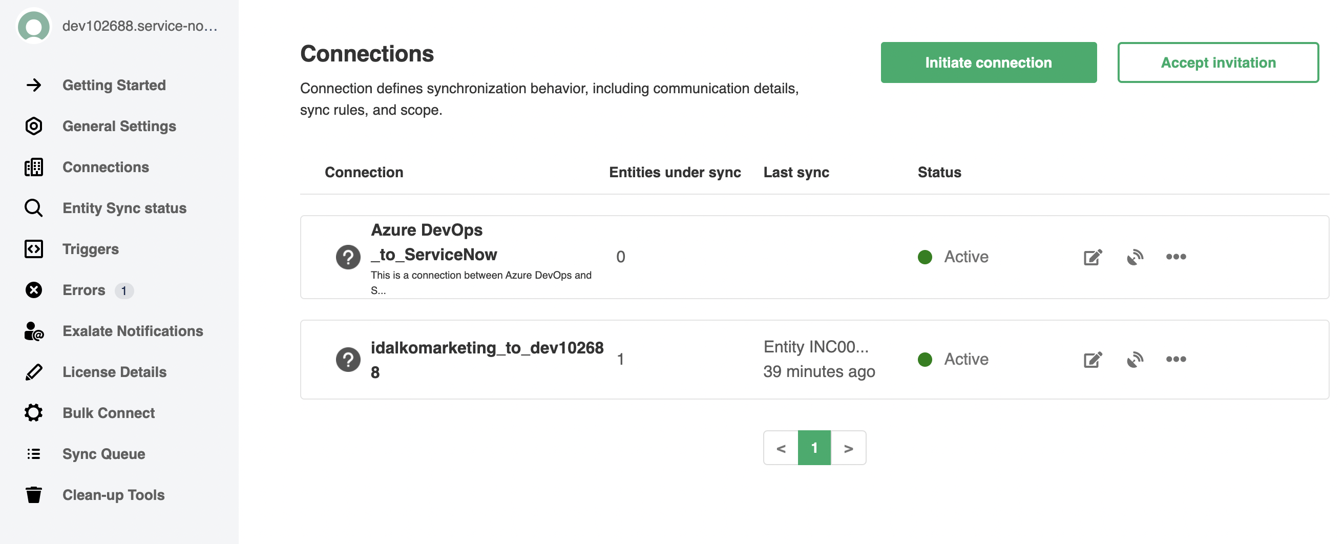 Exalate console for ServiceNow