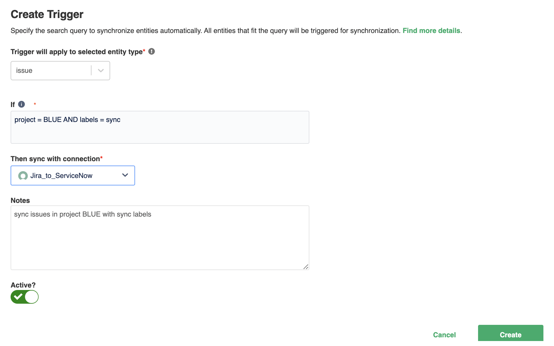 Create triggers for Jira issue sync