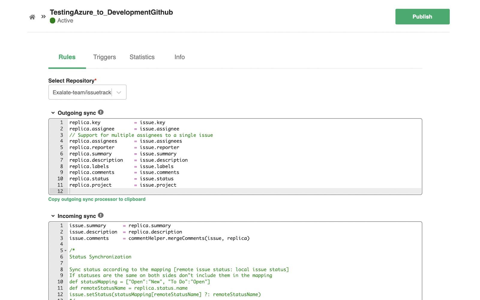 azure devops GitHub sync rules