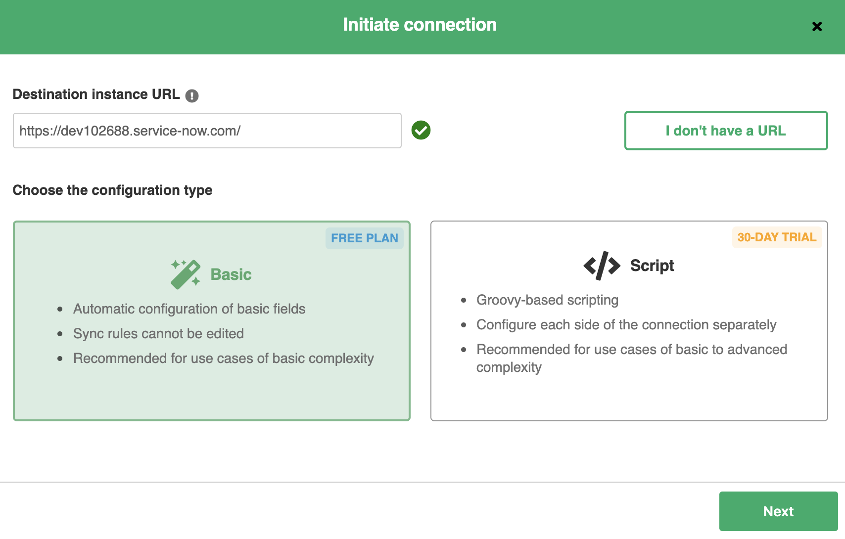 Initiate connection between Github and ServiceNow
