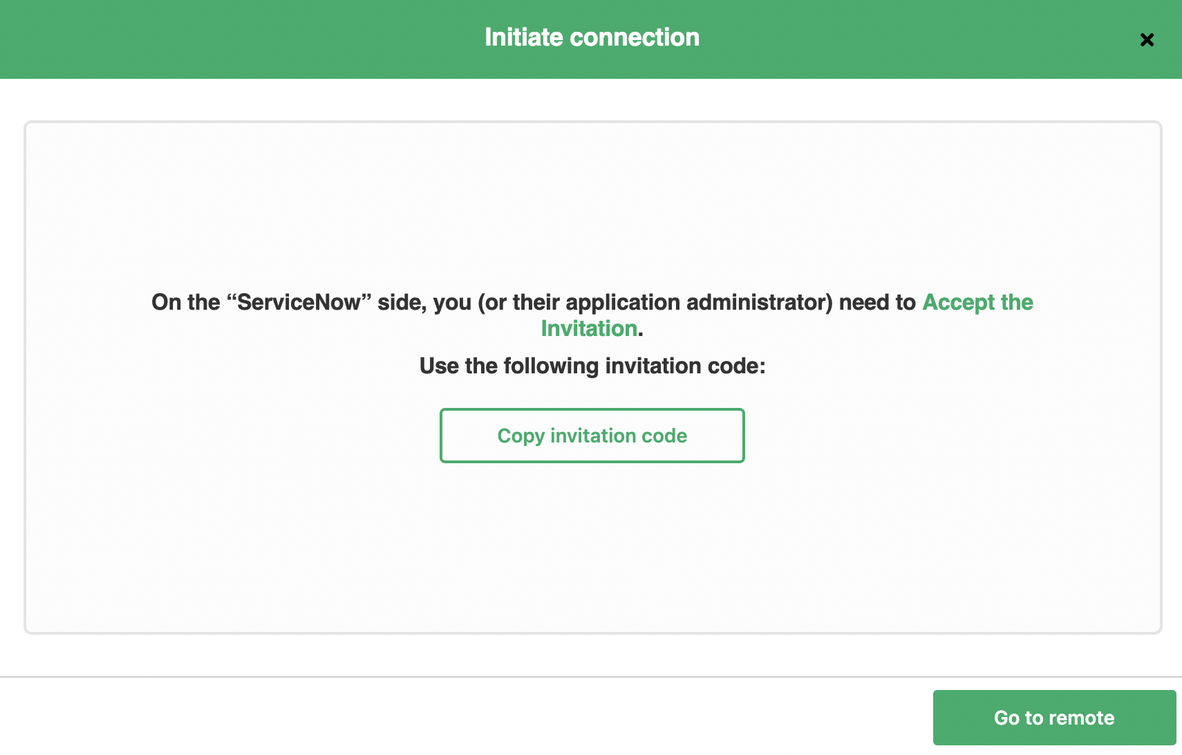 Invitation code to sync Github and ServiceNow