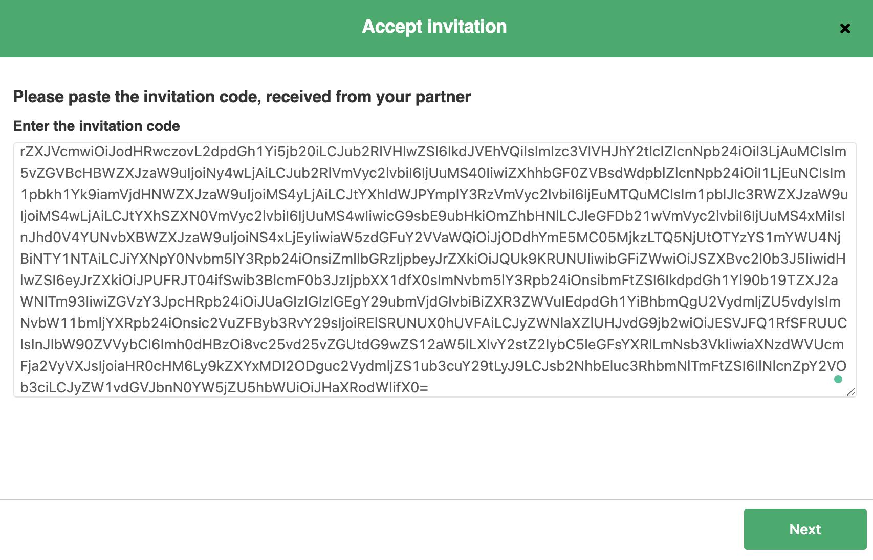 Paste the invitation code in ServiceNow