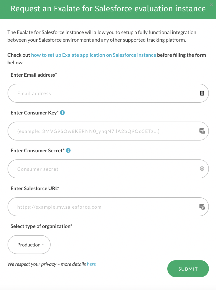 Form for requesting Salesforce integration