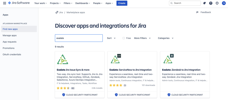 Exalate app on marketplace