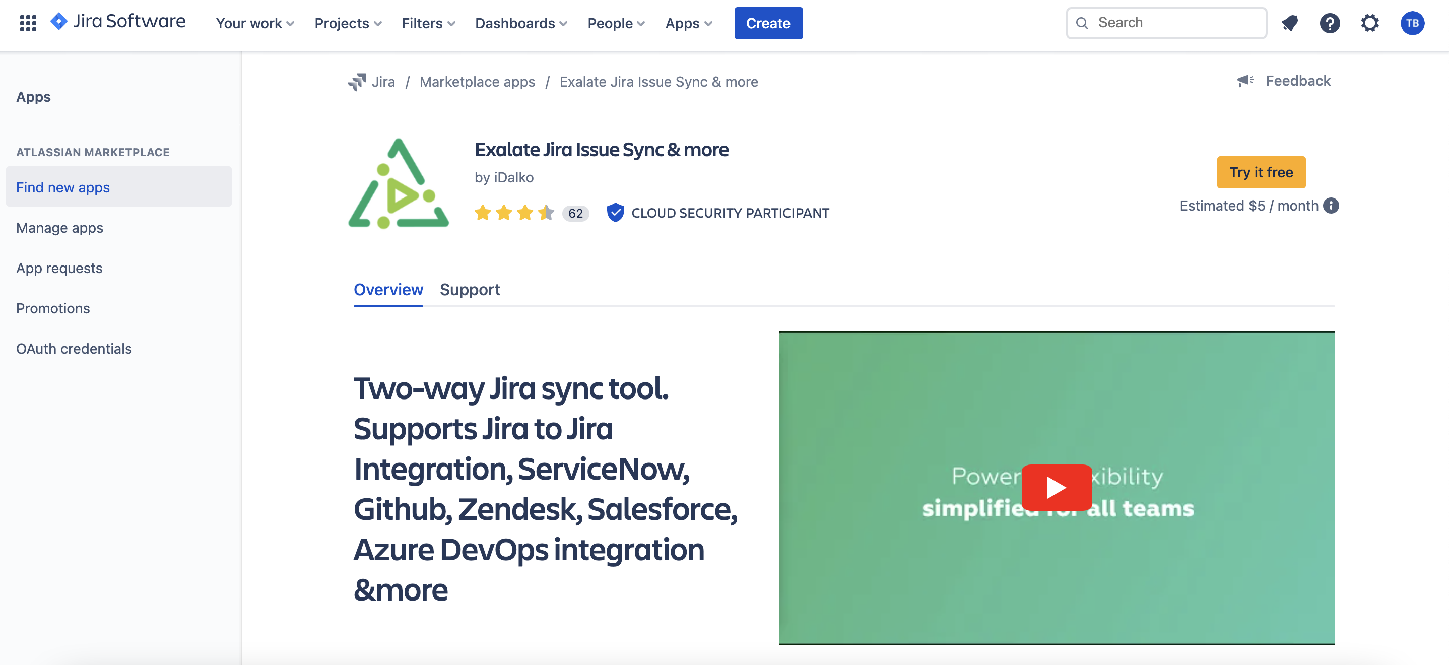 exalate for jira on marketplace